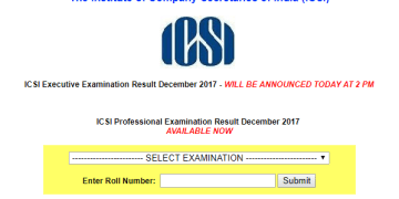 ICSI announced Executive Examination Result December 2017