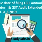 Due date of filing GST Annual Return Extended till 31.3.2019