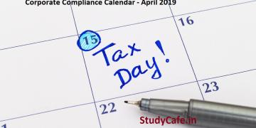 Corporate Compliance Calendar - April 2019