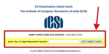 ICSI Released Admit Cards for CS June 2019 Exam | CS Admit Card June