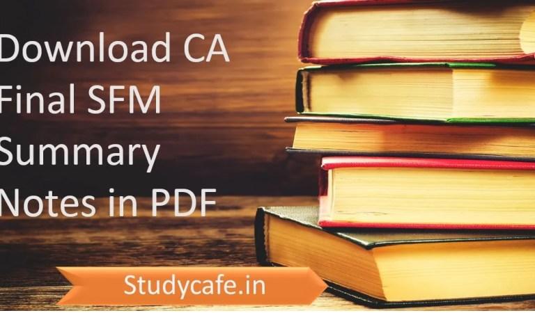 CA Final SFM Summary Notes