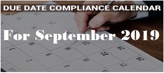 Compliance Calendar For September 2019