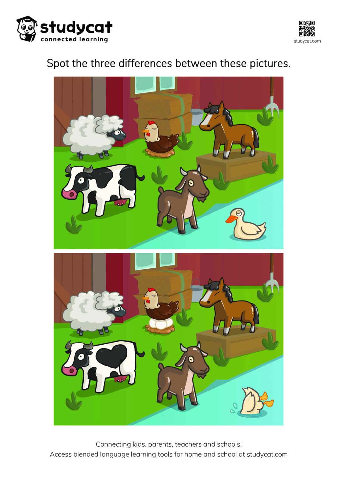 Spot The Difference Farm Animals Activity