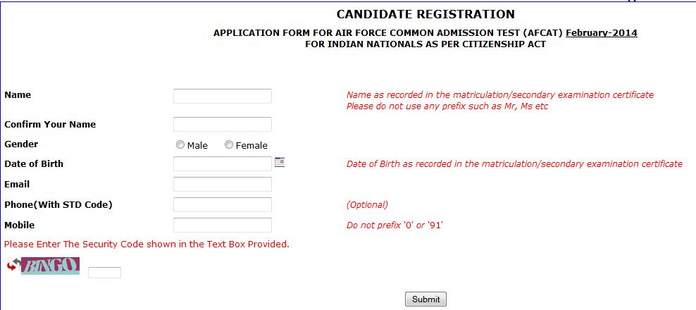 Candidate Section Afcat Candidate Section Afcat How To