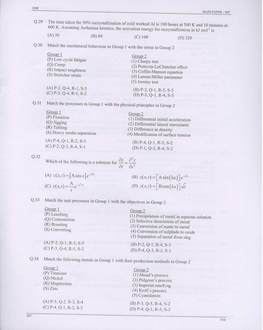 Metallurgical Engineering question papers of GATE-2008