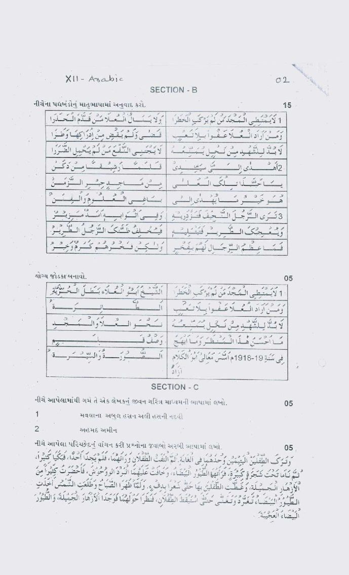 Gujarat higher secondary exam board previous question