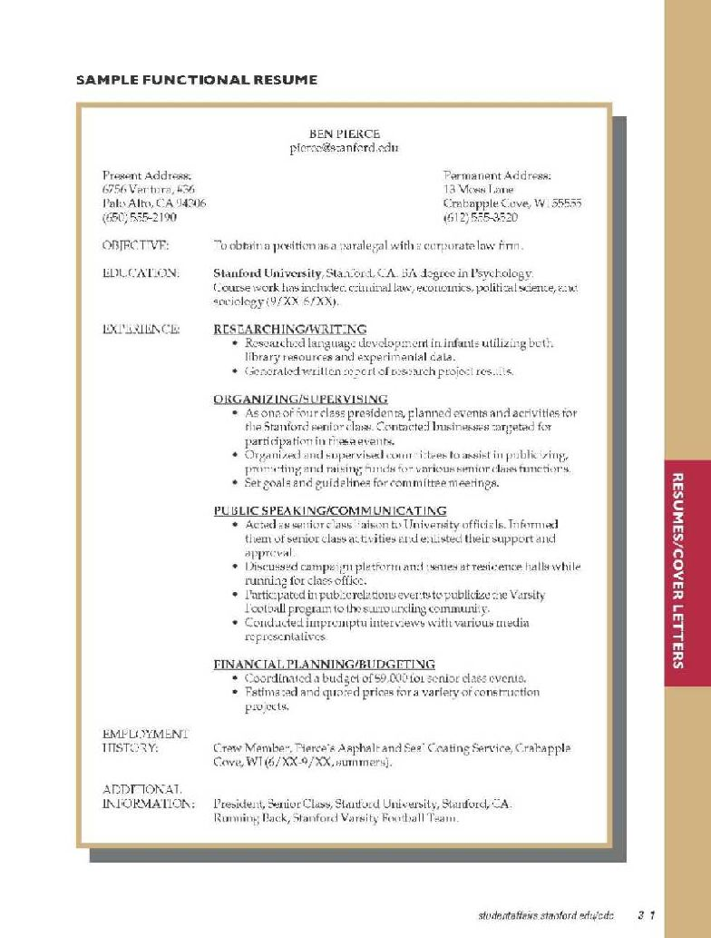 sample of resume for university