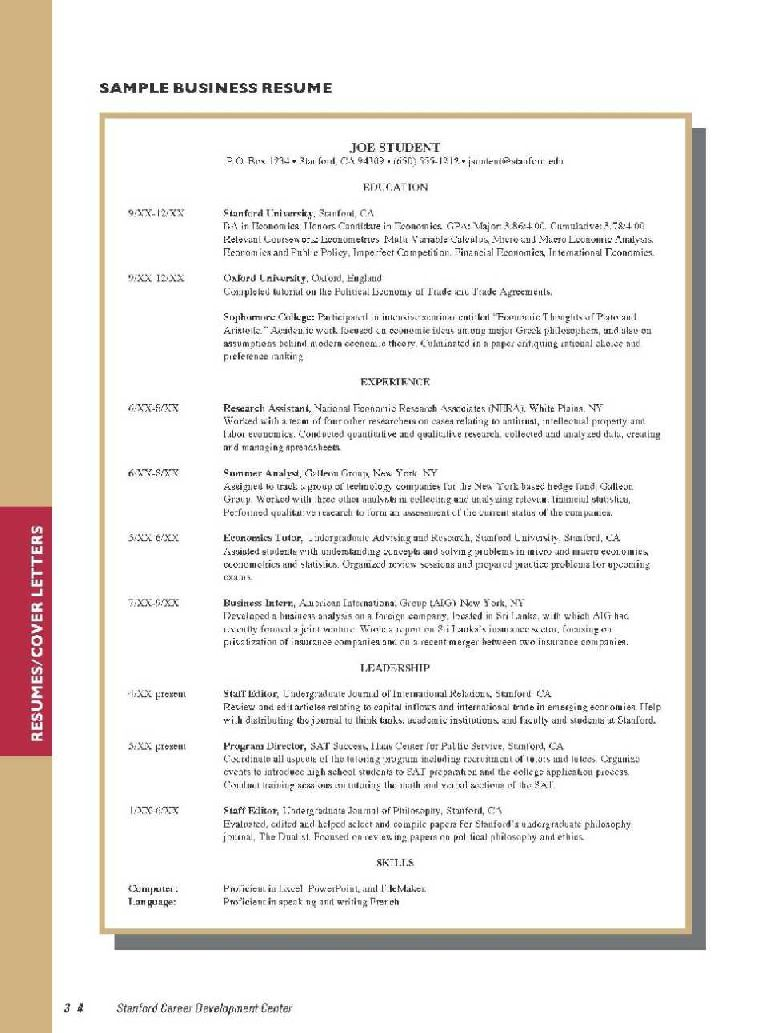resume stanford application