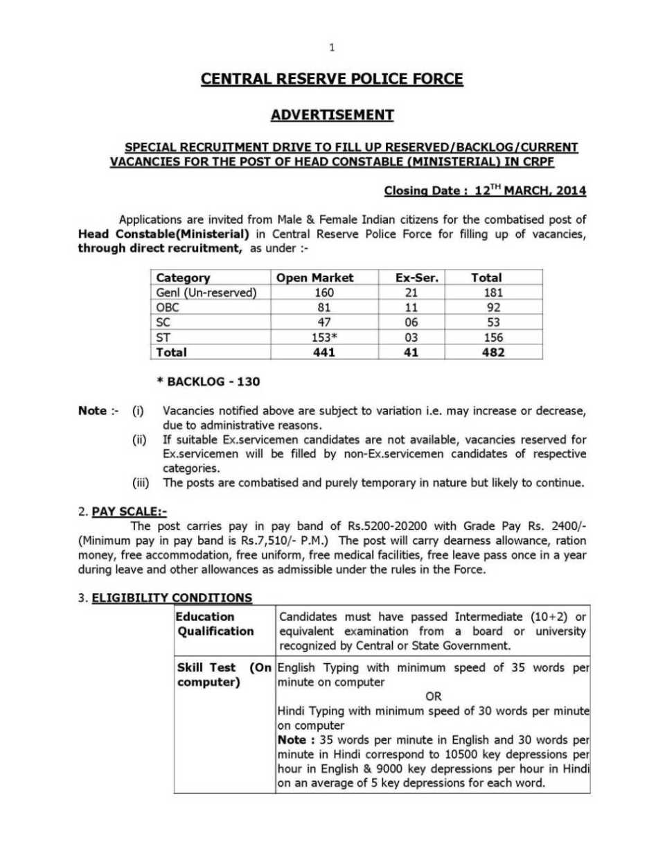 Recruitment For Head Constable In Crpf Ssb Cisf Bsf