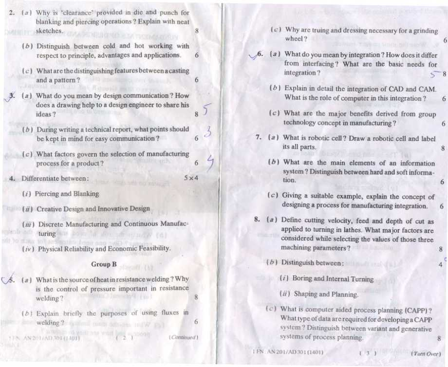 Section A and B previous year question papers of AMIE