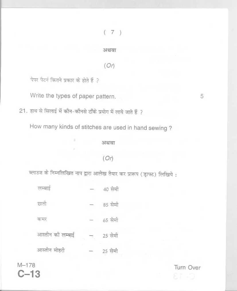 U.P Board Intermediate Home Science Exam Previous Question