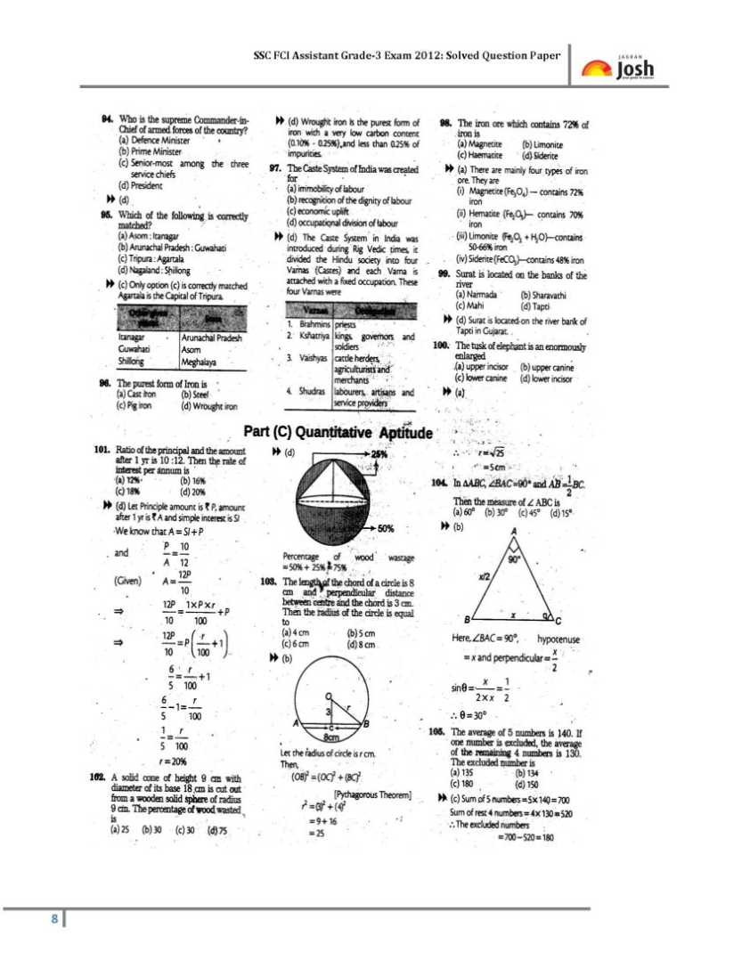 SSC FCI Assistant Grade III technical exam Previous years
