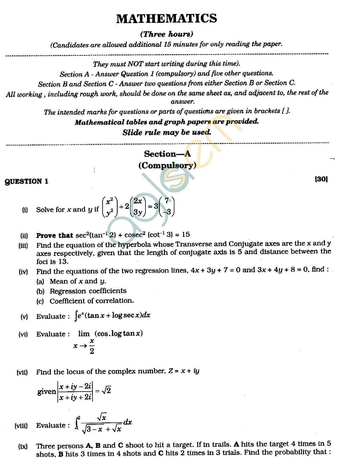 Isc Class 12 Mathematics Exam Question Papers