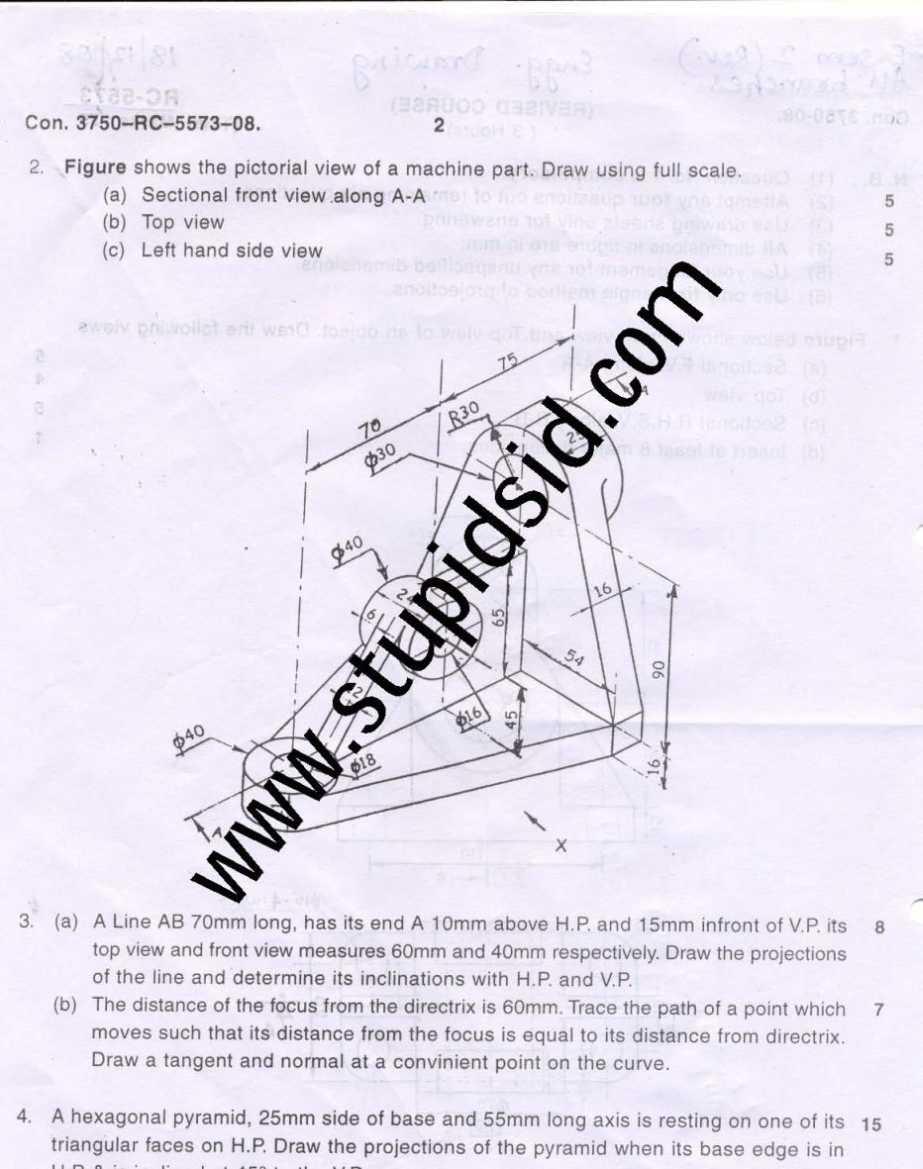 Mumbai University BE II Sem Engineering Drawing (ED) Exam