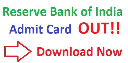 Reserve Bank of India Admit Card 2019