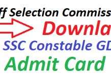 SSC Constable GD Admit Card 2019