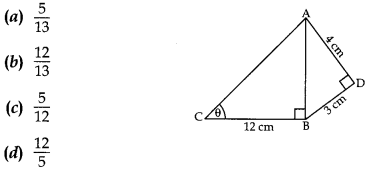MCQ Questions for Class 10 Maths Application of