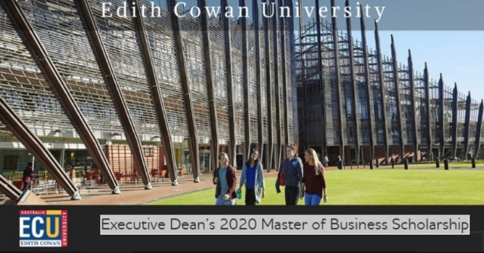 Image result for Executive Dean's Master of Business Scholarship at Edith Cowan University in Australia, 2020