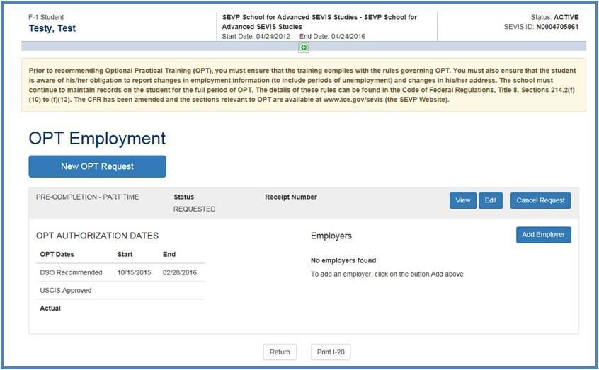 OPT Employment page listing existing OPT request with the Edit link in the command column circled.