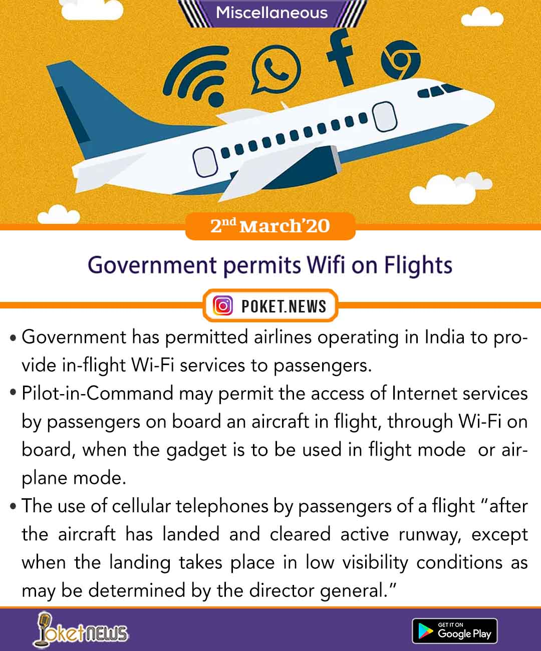 Government permits Wifi on Flights