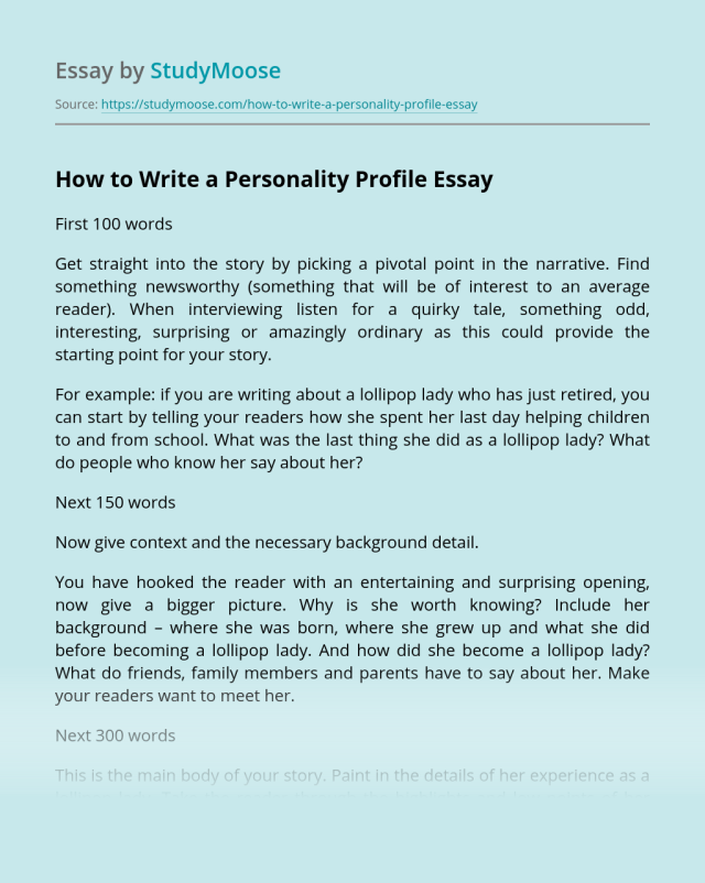 How to Write a Personality Profile? Free Essay Example