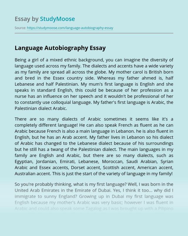 Language Autobiography Free Essay Example