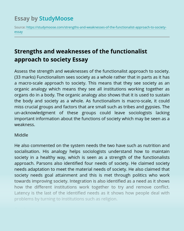 Strengths and weaknesses of the functionalist approach to society