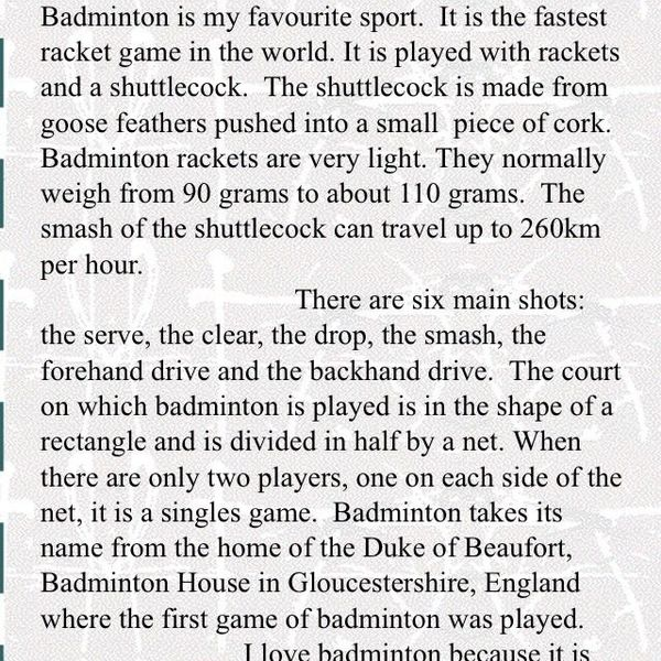 Essays on My Favorite Game Badminton. Essay topics and