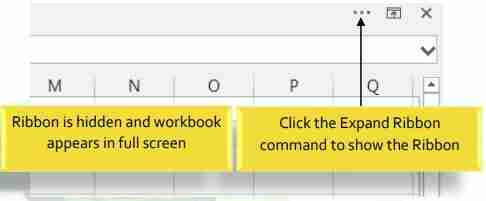 MS Excel tabbed auto hide Ribbon