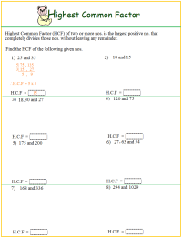 Worksheet on HCF