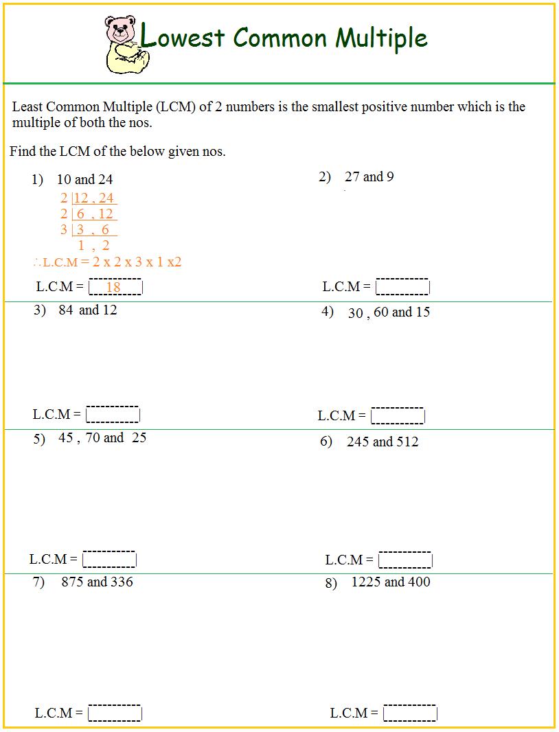 worksheet Finding The Least Common Multiple Worksheets finding the least common denominator worksheets free f d g lcm w ksheet ksheets libr ry downlo nd pr t