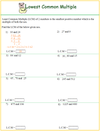 Worksheet on LCM