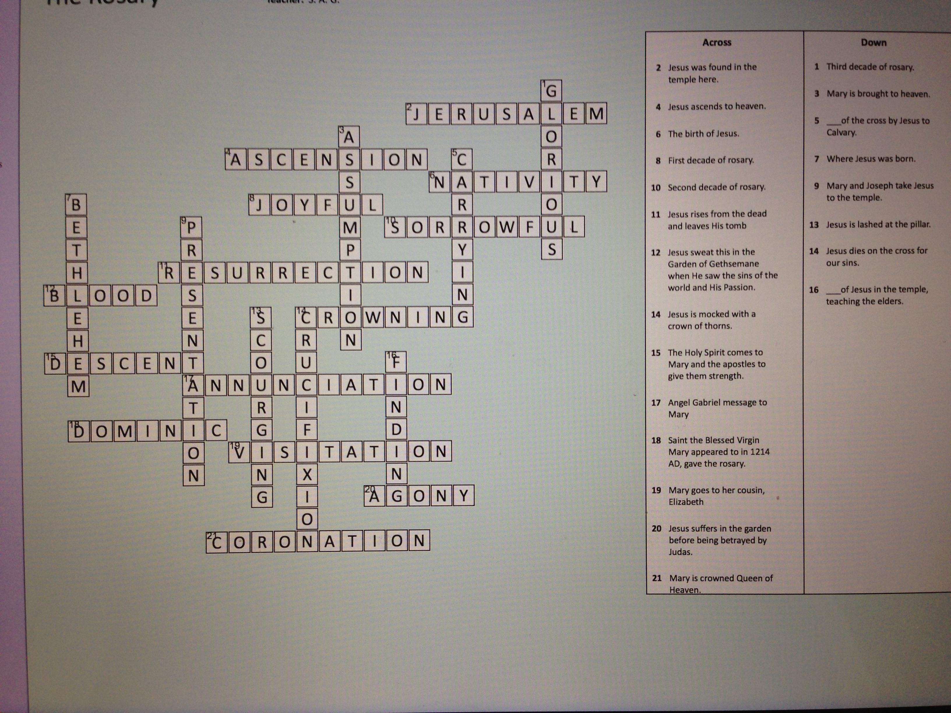 Catholic Crossword Puzzle Studyyourfaith