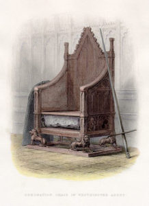 18th C illustration of the Chair with the Stone of Destiny in situ