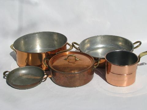 kitchen pots and pans drawer knobs everyone s got em stuff after death lot old vintage solid copper brass