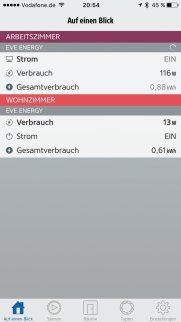 Übersicht in der Eve App