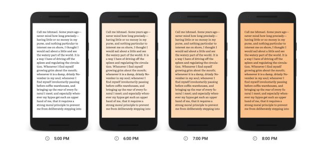 night mode, reading mode demo of google play book