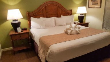 Master bedroom of two bedroom suite at Lake Buena Vista Resort Village & Spa