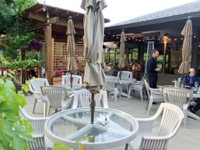 Great outside deck at Wapato Point Cellars