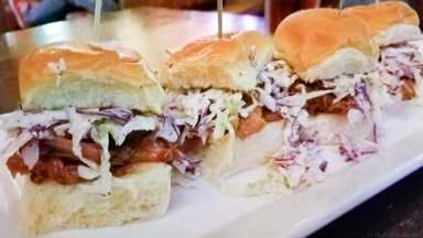 Pulled pork sliders at Cannery Row Brewing Company are delicious appetizer with meat that's smoked in house!