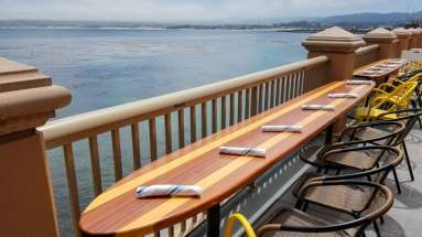 I love the surfboard tables outside on the Schooner's dining deck