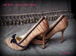 Splash high heels, pleated gold material