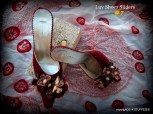 decorated mules, closed toe, red, flower adorned