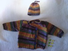baby cartigan & hat - autumn merino/cahmere