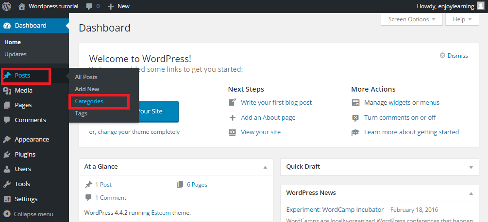 wordpress category menu