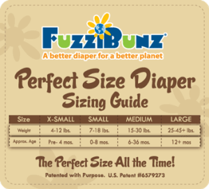 fuzzibunz size chart