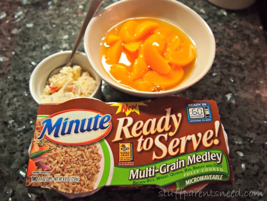 minute ready to serve multi-grain medly and other ingredients for a dessert