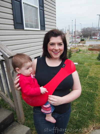 red sling from Suppori for baby wearing