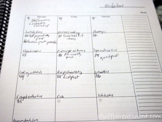 blog calendar filled in advance