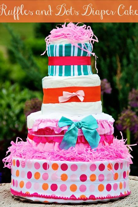 ruffles and dots diaper cake, diaper cake for girl